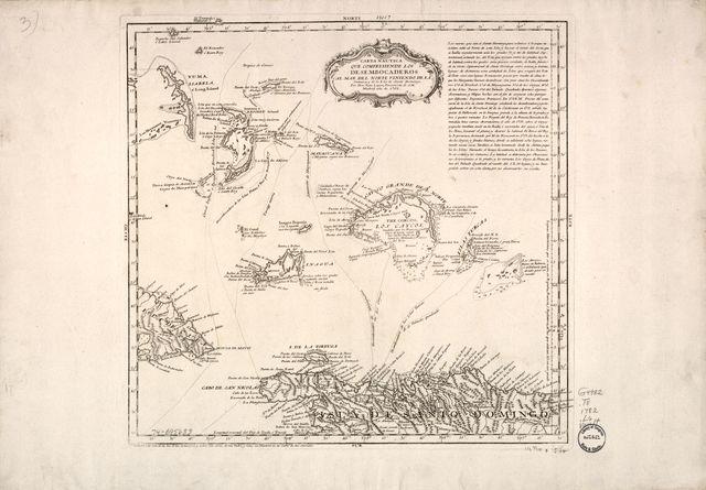 Carta nautica que comprehende los Desembocaderos al mar del norte viniendo de la Jamaica, y de la isla de Santo Domingo.
