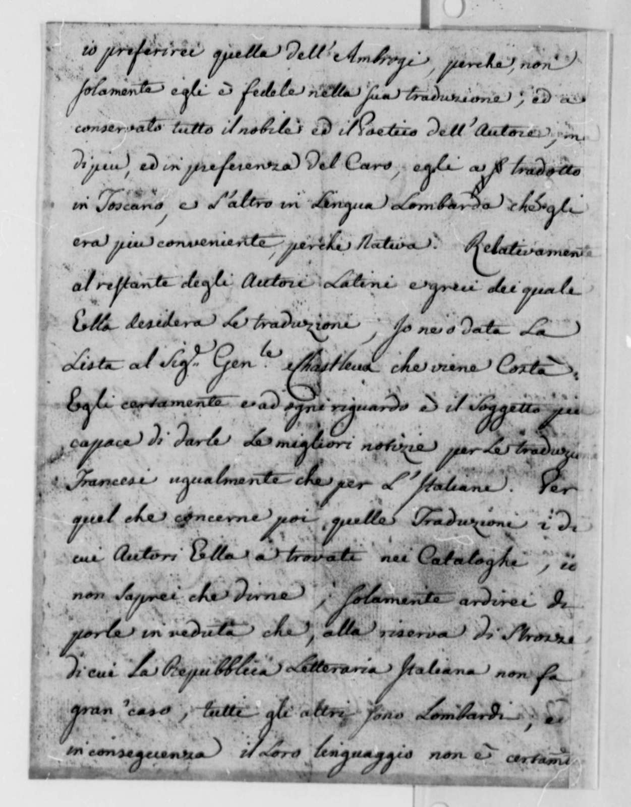Charles Bellini to Thomas Jefferson, April 8, 1782, in Italian