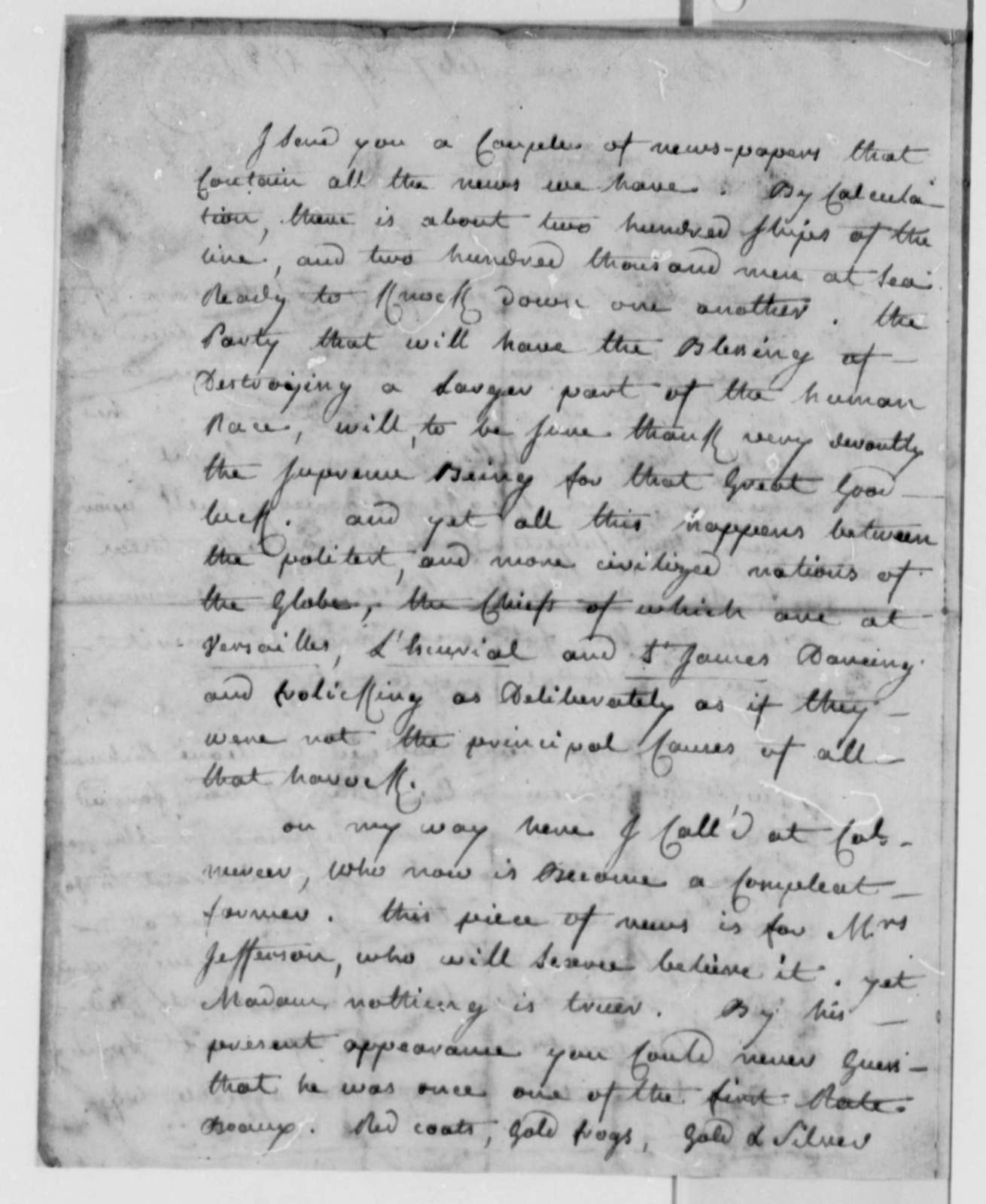 Charles, Chevalier d'Annemours to Thomas Jefferson, February 27, 1782
