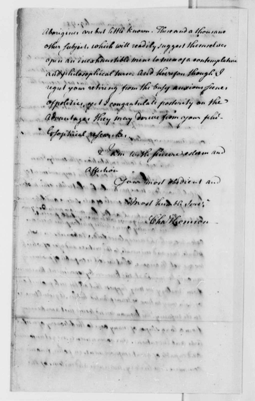 Charles Thomas to Thomas Jefferson, March 9, 1782