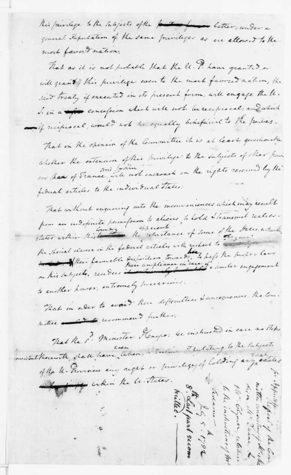 Continental Congress Committee, July 5, 1782. Report on Revisions to Instructions for John Adams.