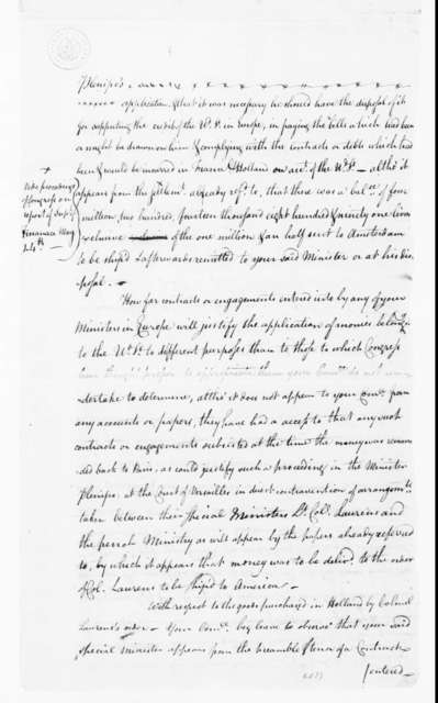 Continental Congress Committee, September 30, 1782. Report on John Laurens's Letters and Reports on Hi.