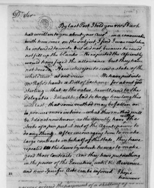 David Jameson to James Madison. 1782.