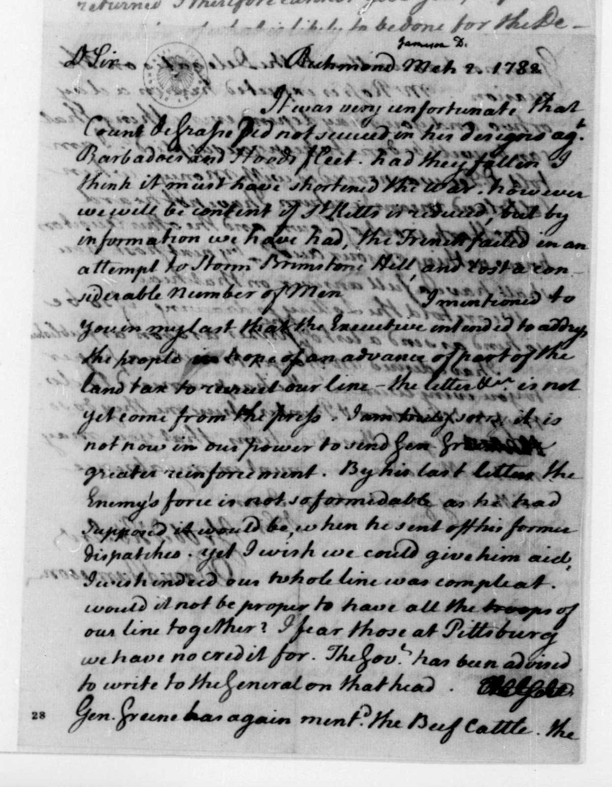 David Jameson to James Madison, March 2, 1782.