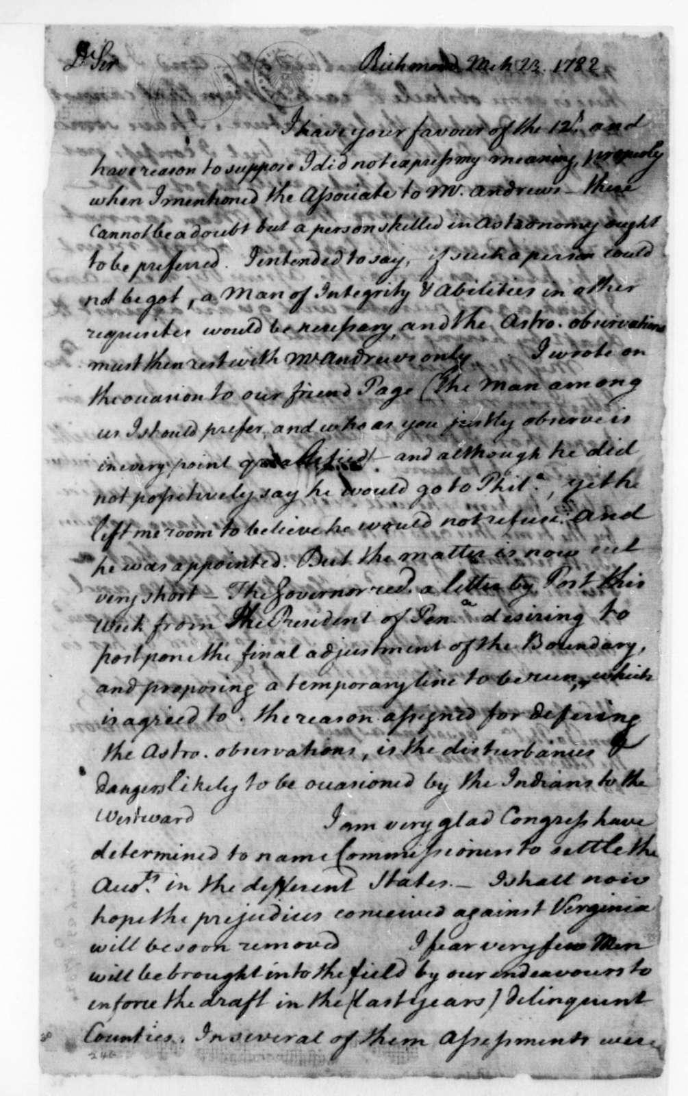 David Jameson to James Madison, March 23, 1782.