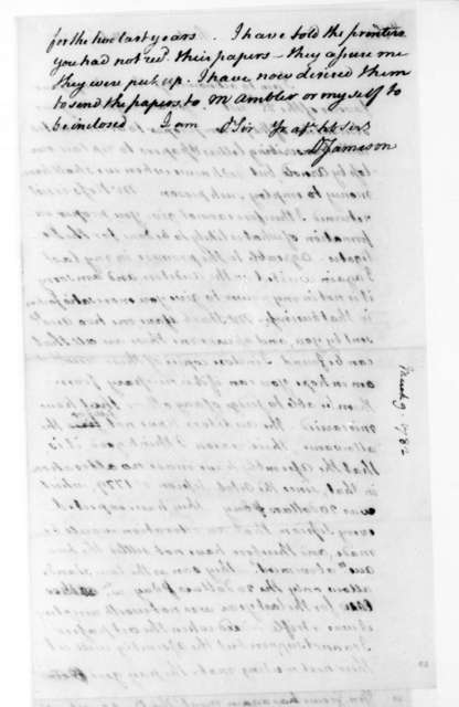 David Jameson to James Madison, March 9, 1782.