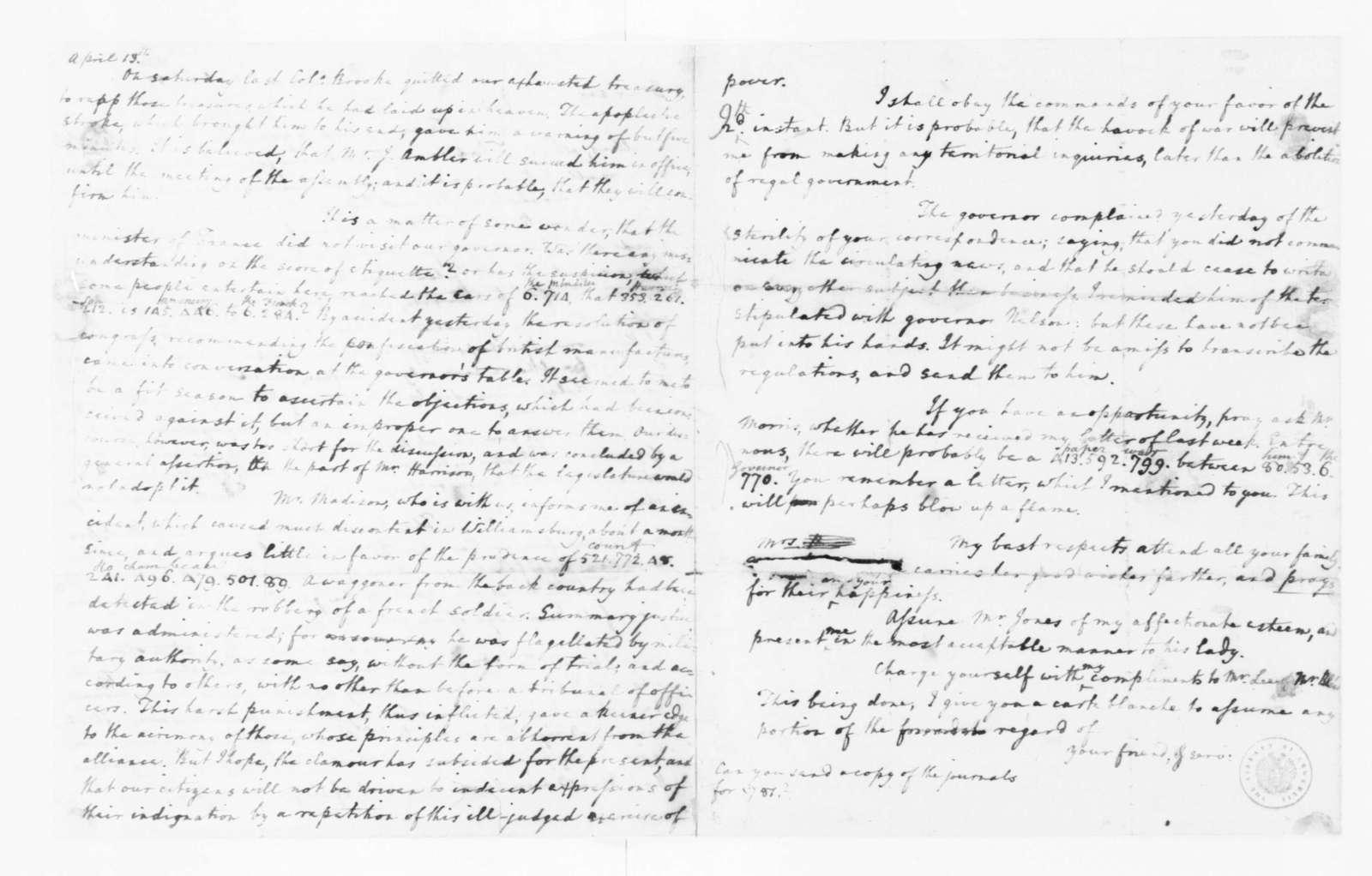 Edmund Randolph to James Madison, April 11, 1782.