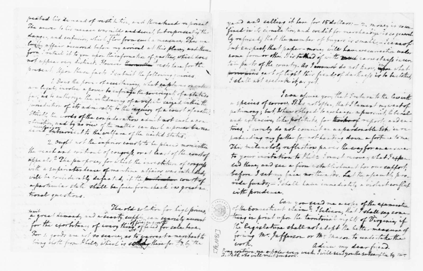 Edmund Randolph to James Madison, April 19, 1782.