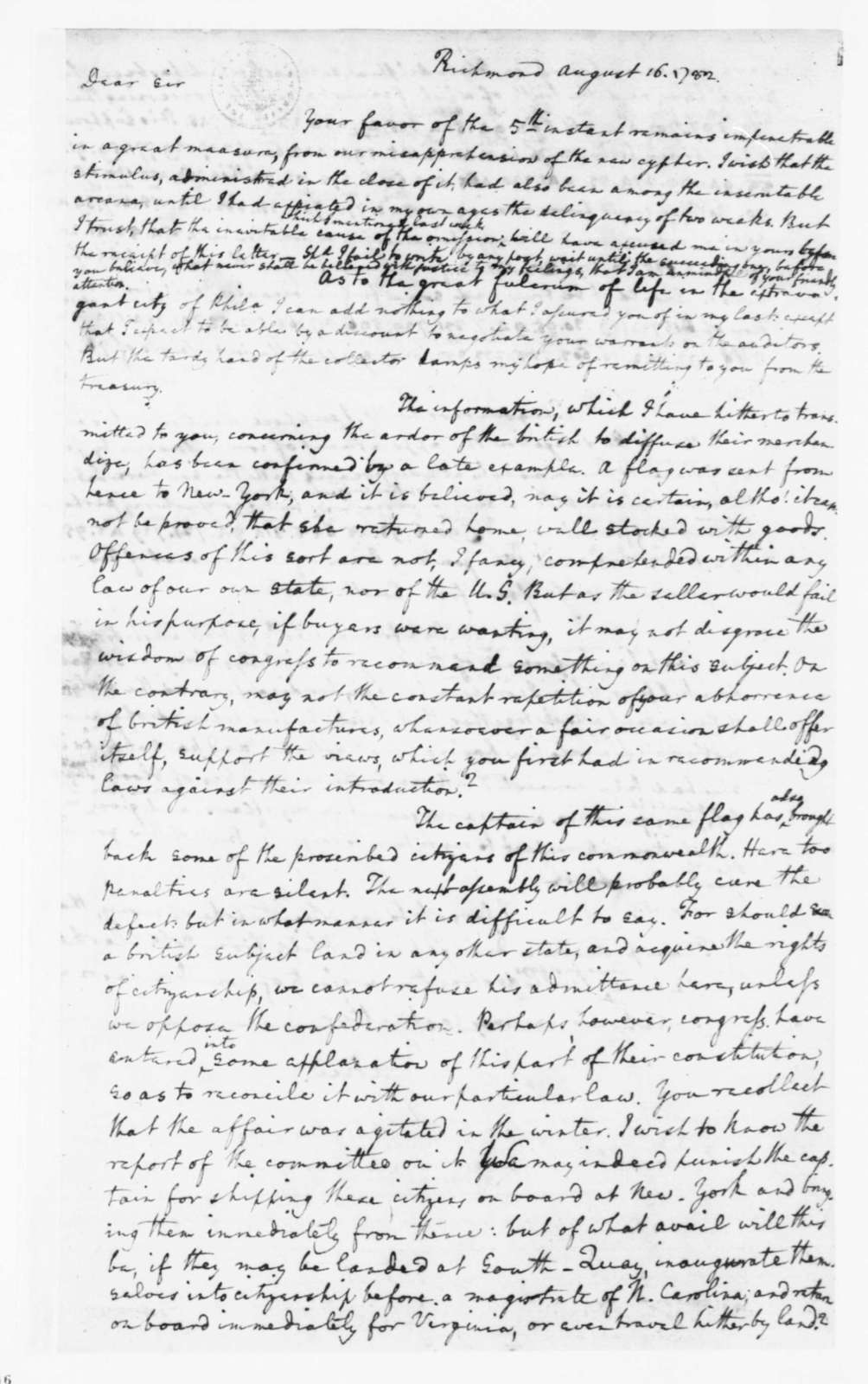 Edmund Randolph to James Madison, August 16, 1782. Partly in Cipher.