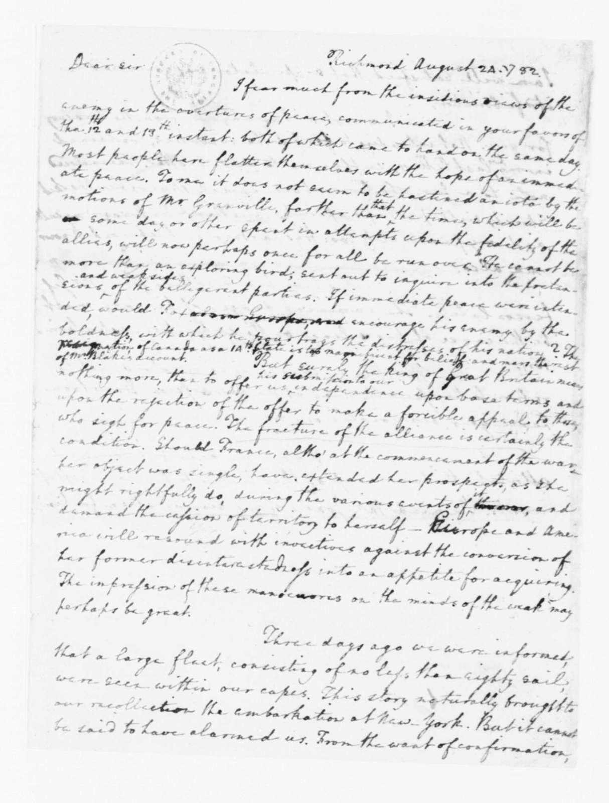 Edmund Randolph to James Madison, August 24, 1782.