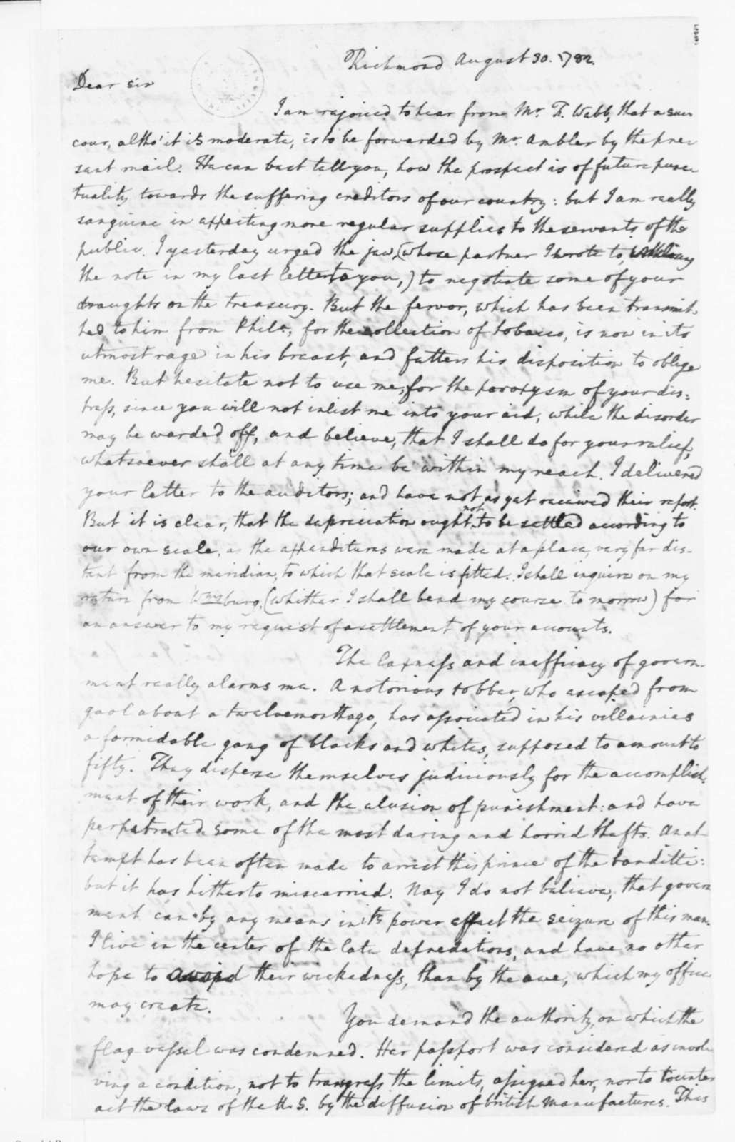 Edmund Randolph to James Madison, August 30, 1782.