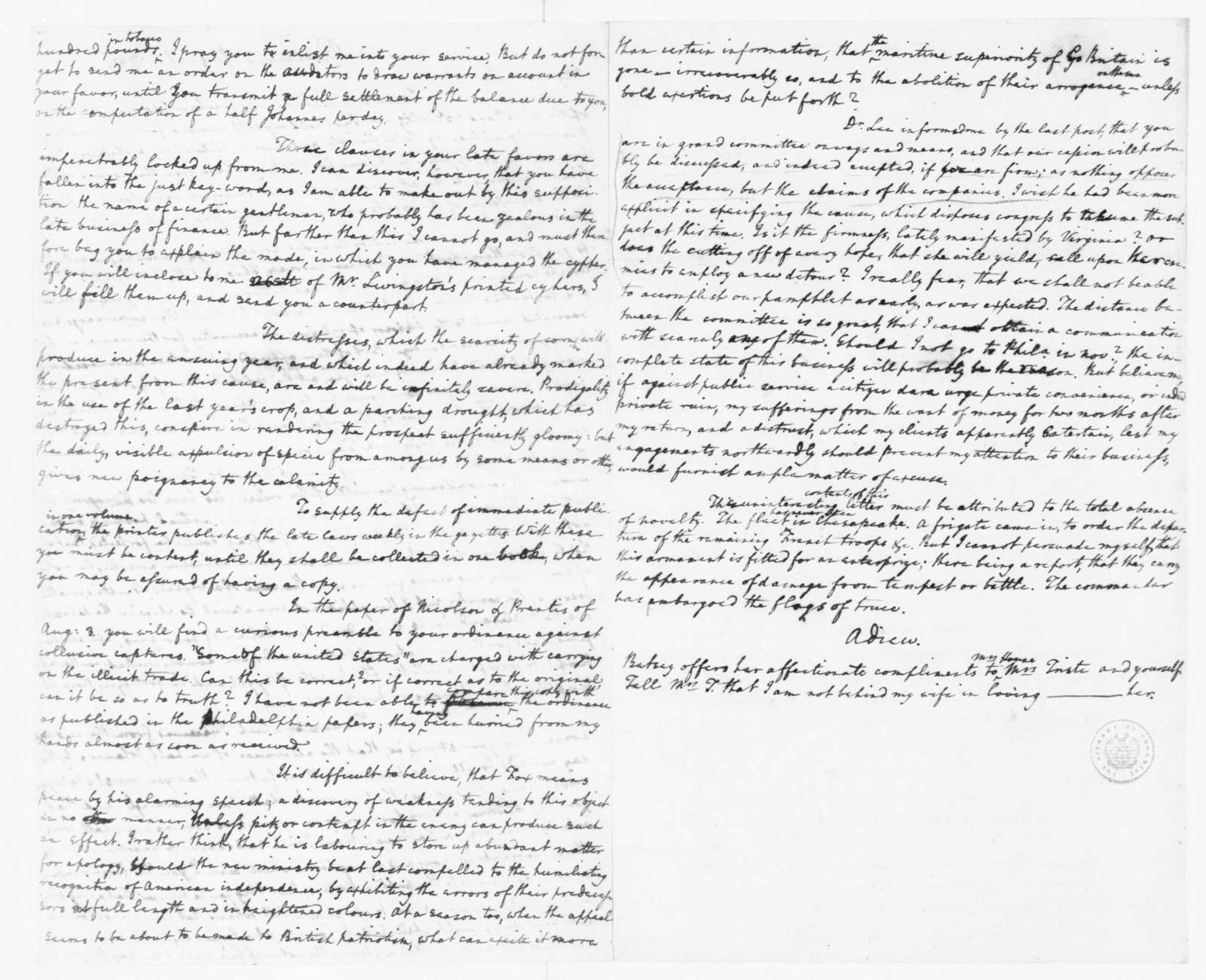 Edmund Randolph to James Madison, August 6, 1782.