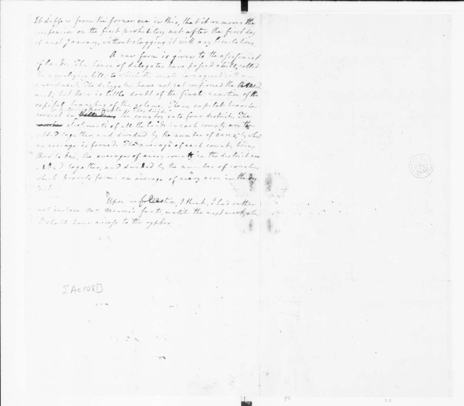 Edmund Randolph to James Madison, December 20, 1782.