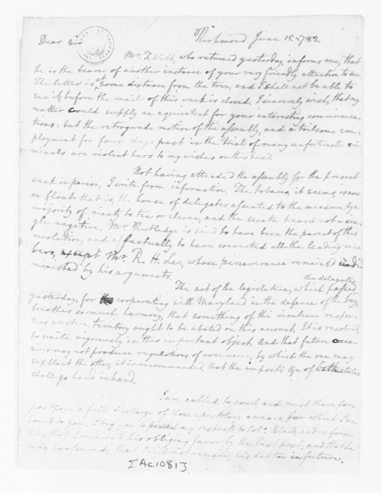 Edmund Randolph to James Madison, June 15, 1782.