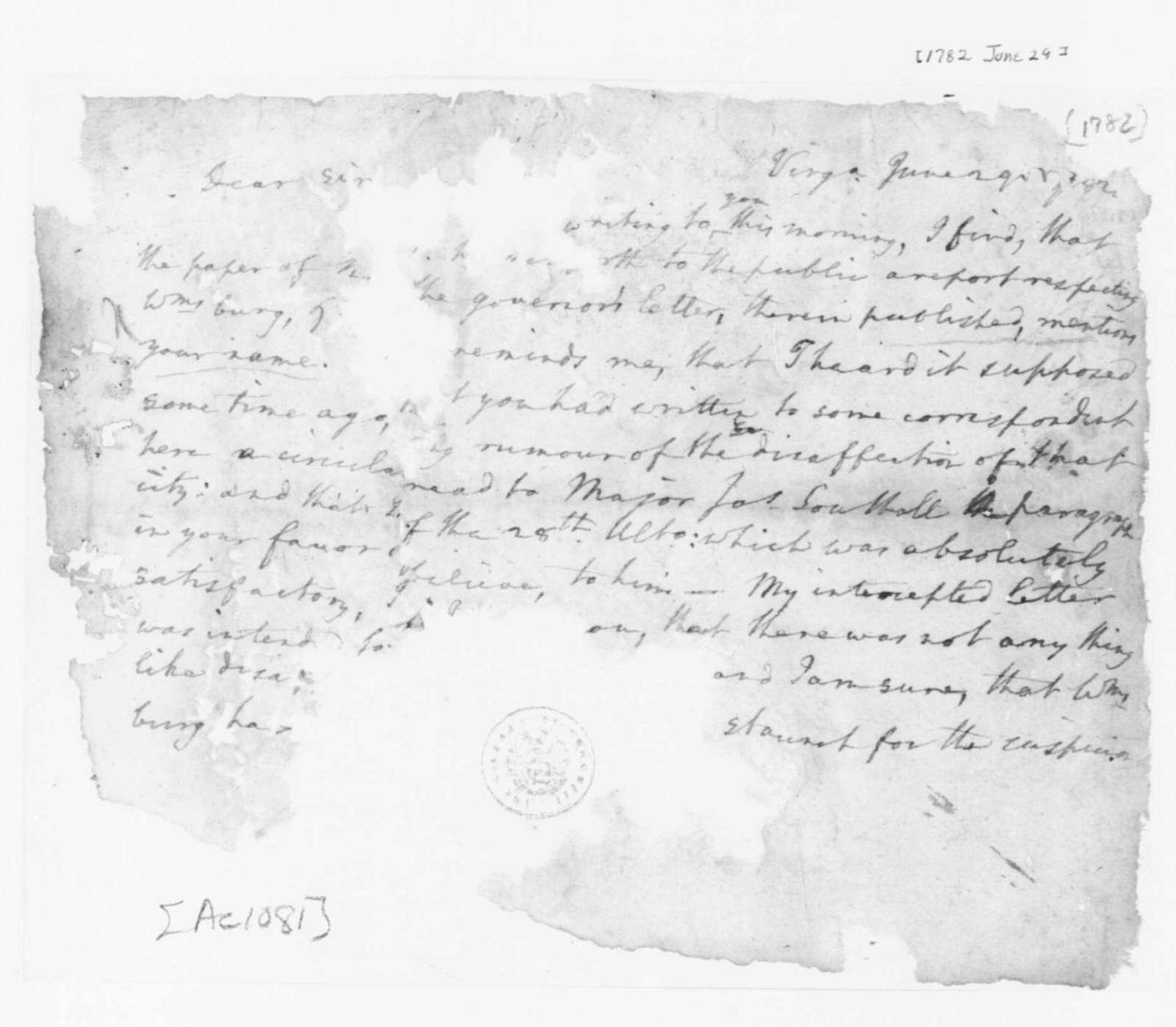 Edmund Randolph to James Madison, June 29, 1782. Fragment.