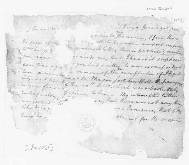 Edmund Randolph to James Madison, June 29, 1782. Fragment.