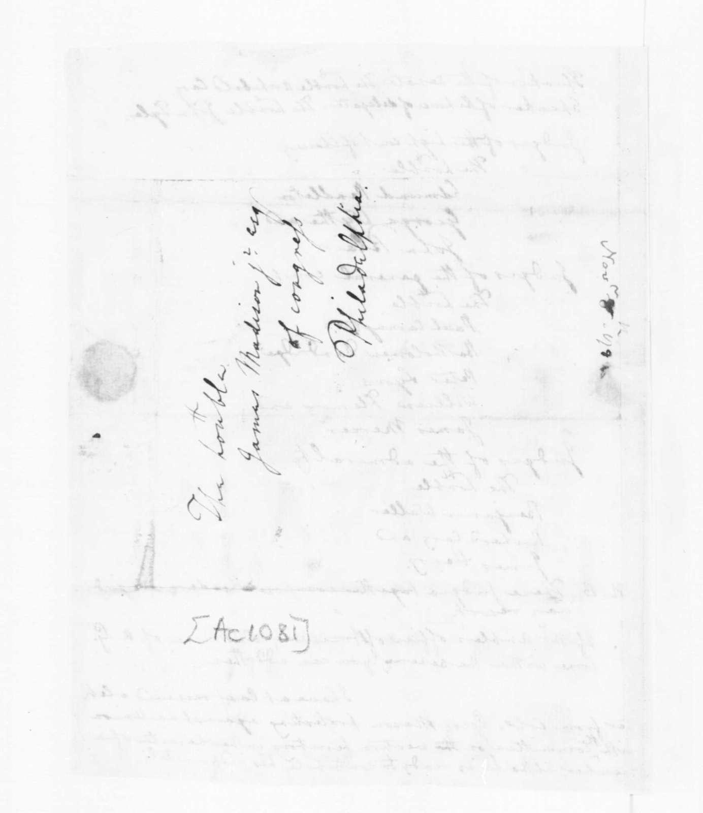 Edmund Randolph to James Madison, November 8, 1782.