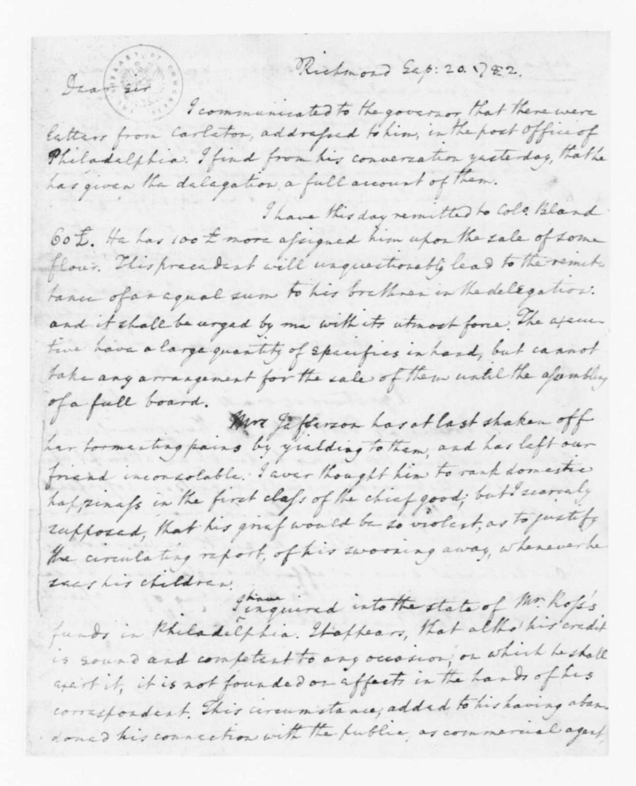 Edmund Randolph to James Madison, September 26, 1782.