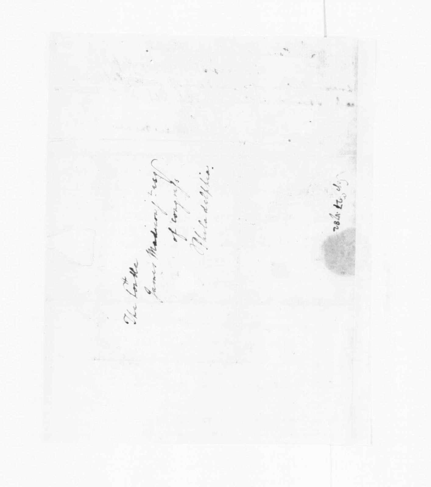 Edmund Randolph to James Madison, September,1782.