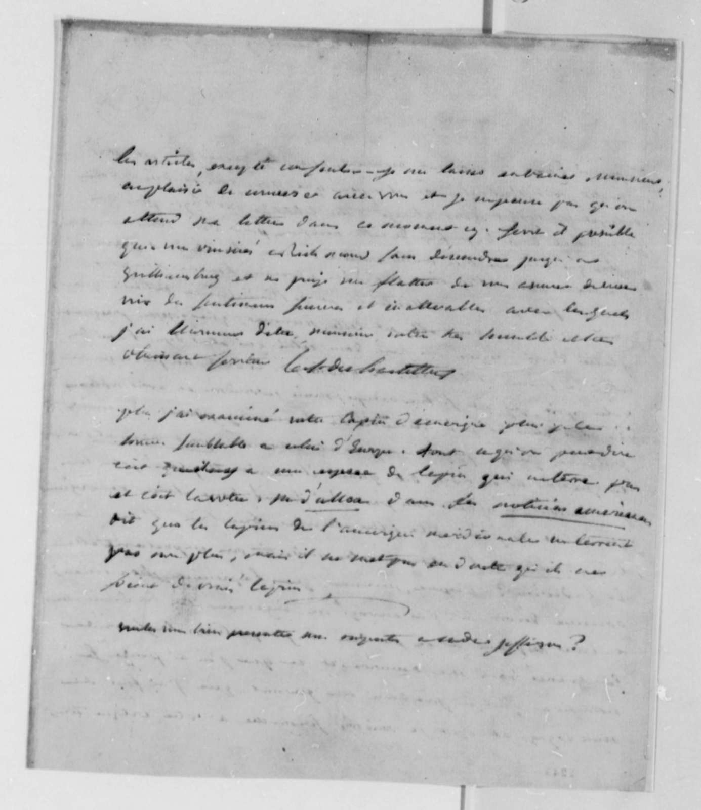 Francois Jean, Chevalier de Chastellux to Thomas Jefferson, June 10, 1782, in French