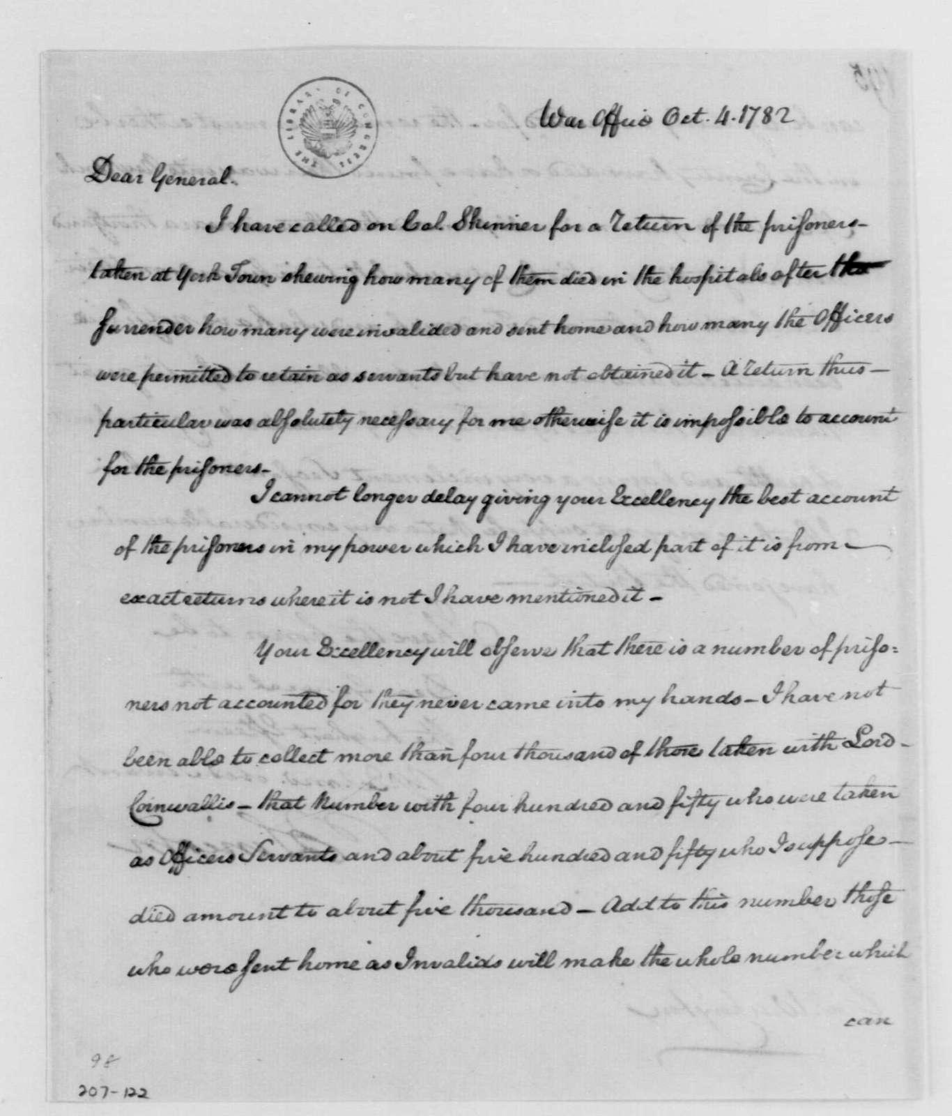 George Washington Papers, Series 4, General Correspondence: Benjamin Lincoln to George Washington, October 4, 1782, Returns
