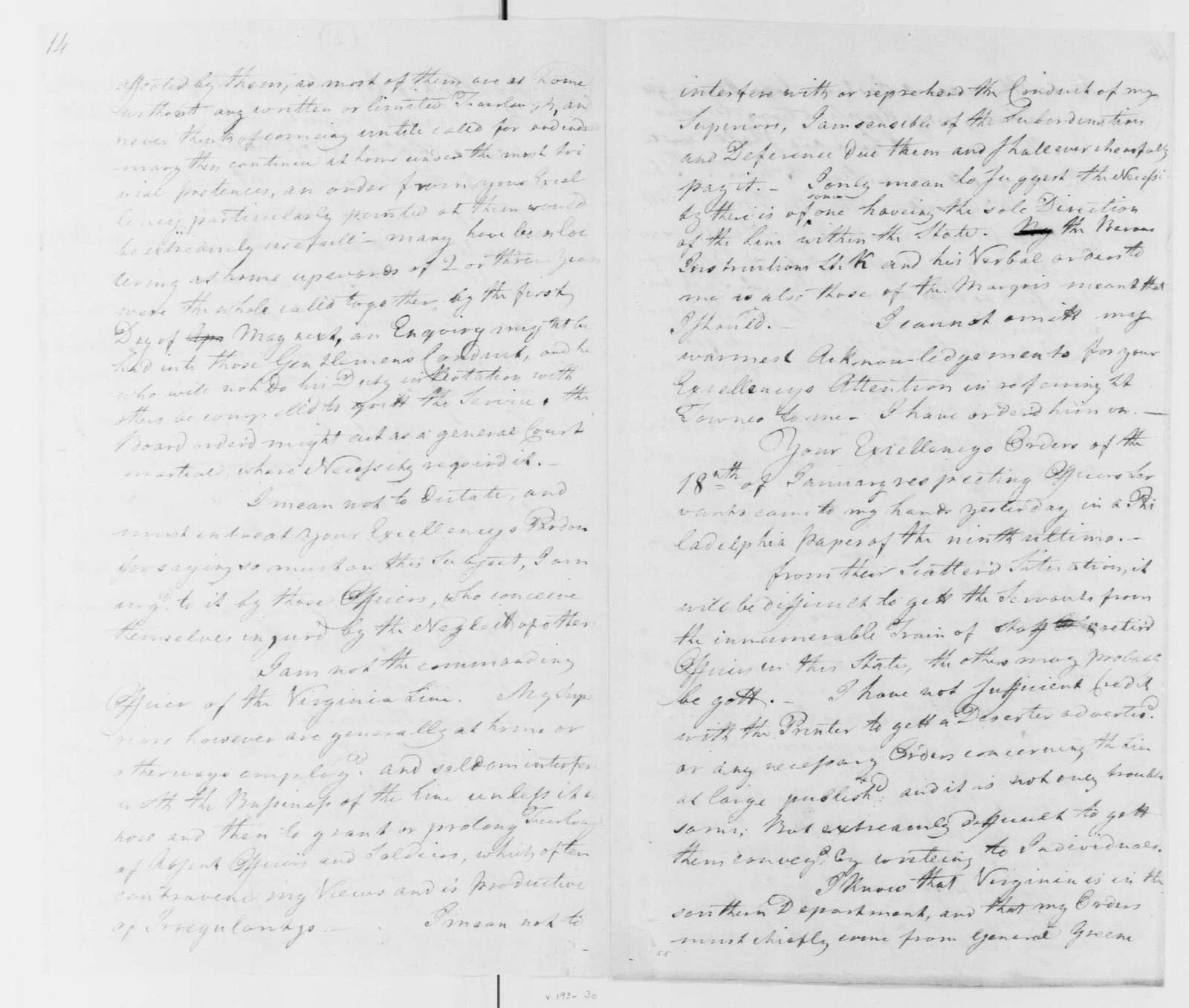George Washington Papers, Series 4, General Correspondence: Christian Febiger to George Washington, March 14, 1782, with Returns