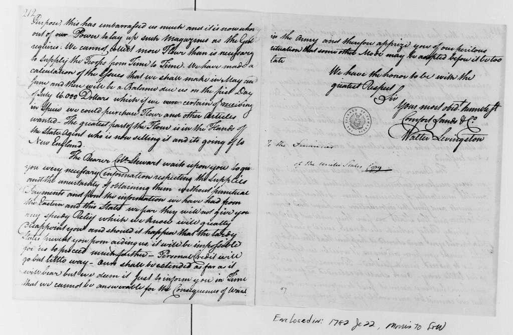 George Washington Papers, Series 4, General Correspondence: Comfort Sands & Company to Robert Morris, June 17, 1782