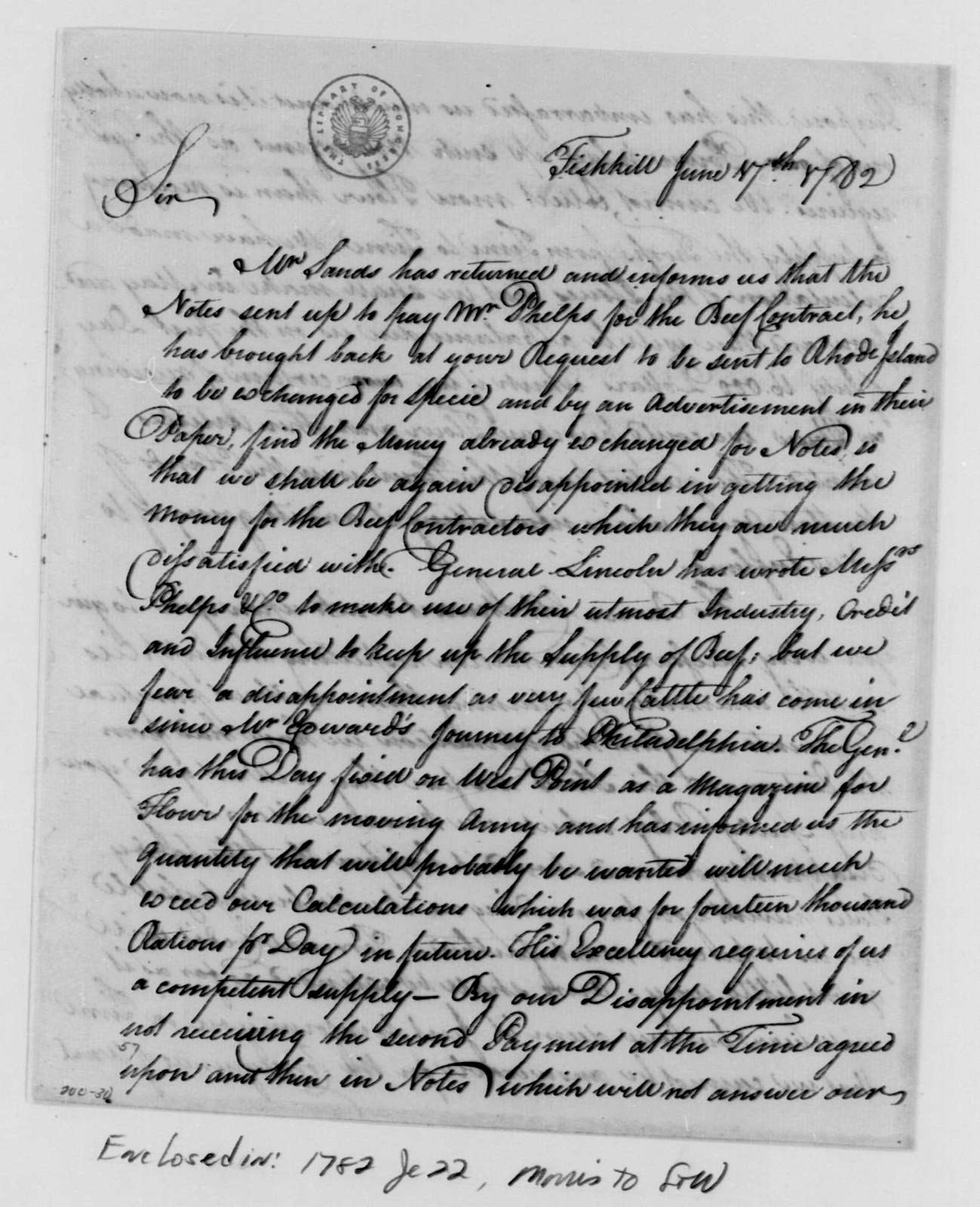 George Washington Papers, Series 4, General Correspondence: Comfort Sands & Company to Robert Morris, June 17, 1782