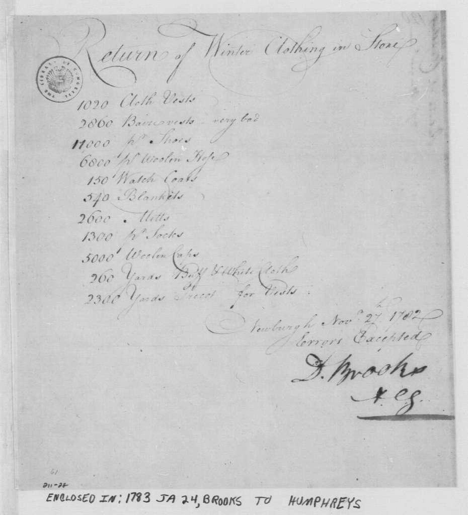 George Washington Papers, Series 4, General Correspondence: David Brooks, November 27, 1782, Return of Clothing