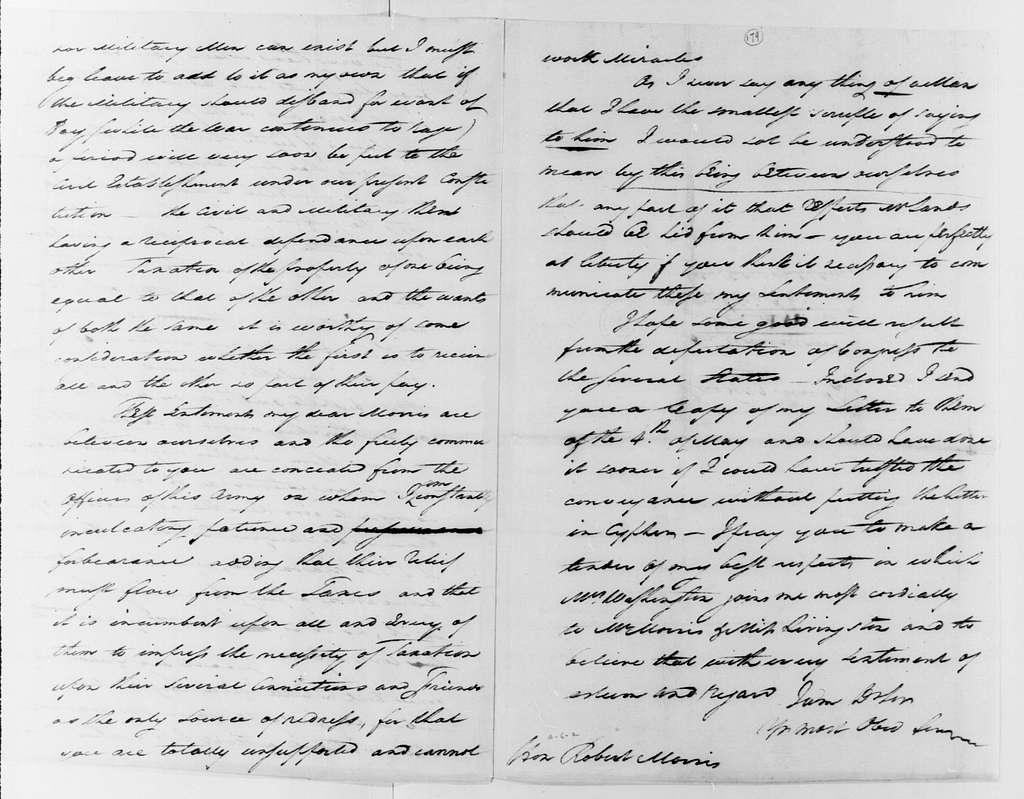 George Washington Papers, Series 4, General Correspondence: George Washington to Robert Morris, June 16, 1782