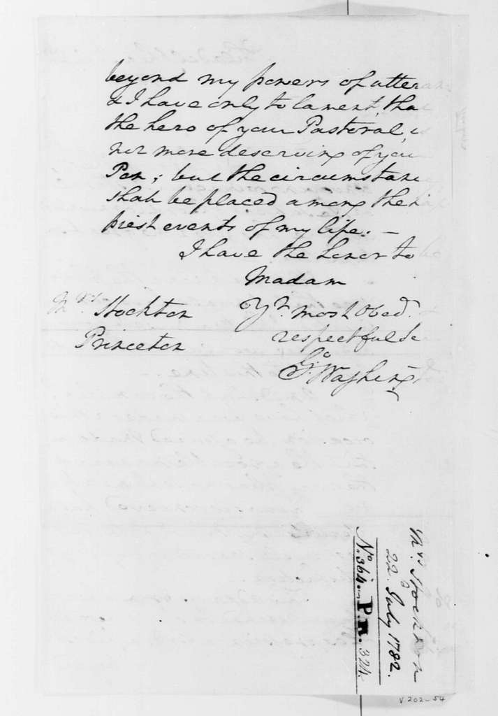 George Washington Papers, Series 4, General Correspondence: George Washington to Annis B. Stockton, July 22, 1782