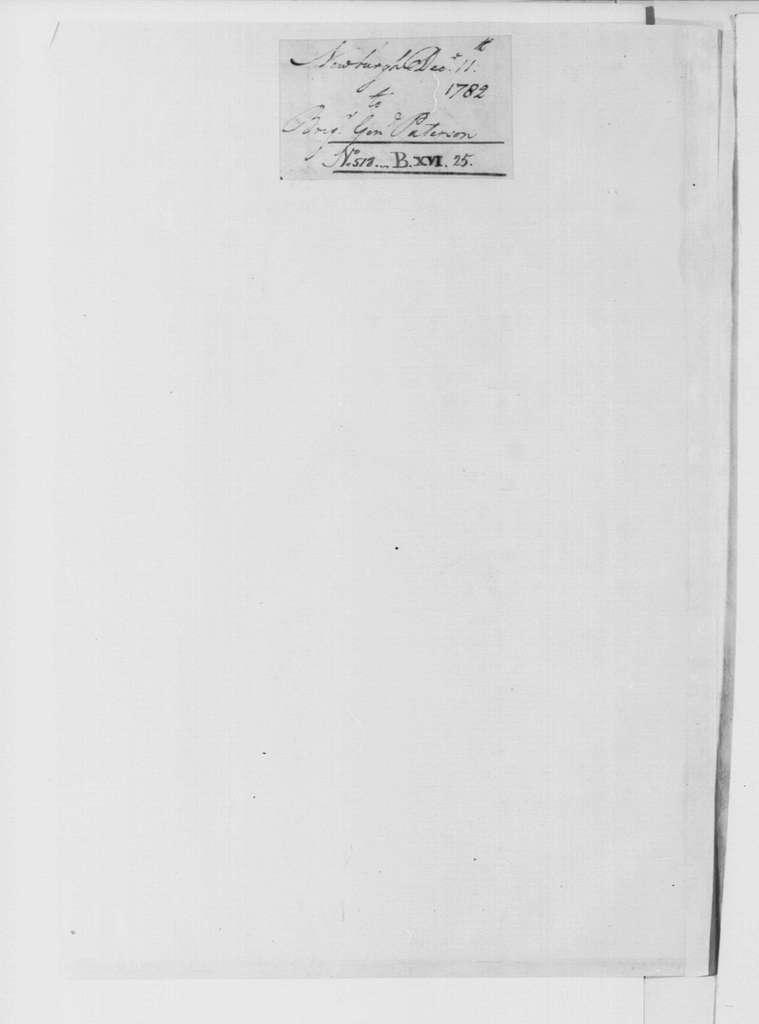 George Washington Papers, Series 4, General Correspondence: George Washington to John Paterson, December 11, 1782