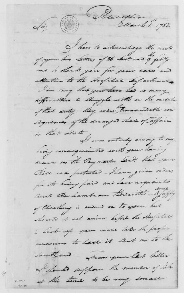 George Washington Papers, Series 4, General Correspondence: George Washington to Francis Mentges, March 1, 1782