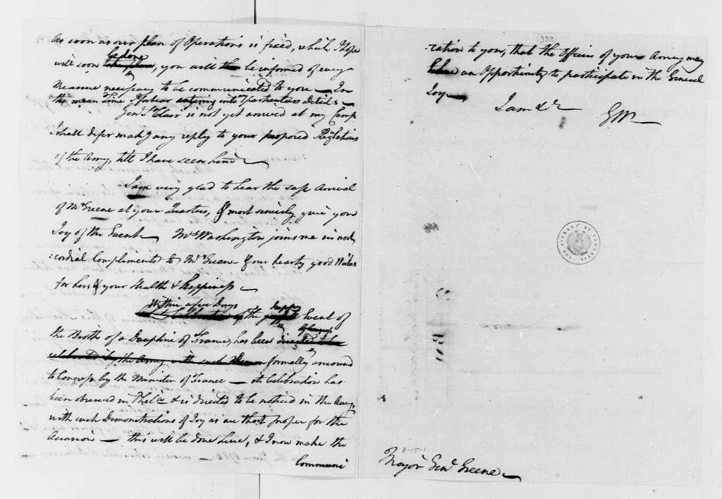 George Washington Papers, Series 4, General Correspondence: George Washington to Nathanael Greene, May 22, 1782