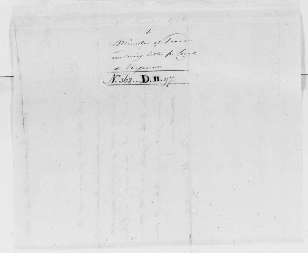 George Washington Papers, Series 4, General Correspondence: George Washington to Anne Cesare, Chevalier la Luzerne, November 22, 1782