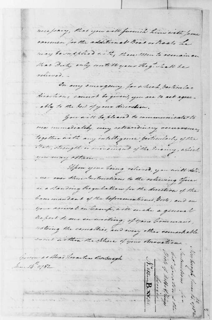 George Washington Papers, Series 4, General Correspondence: George Washington to John Greaton, June 14, 1782