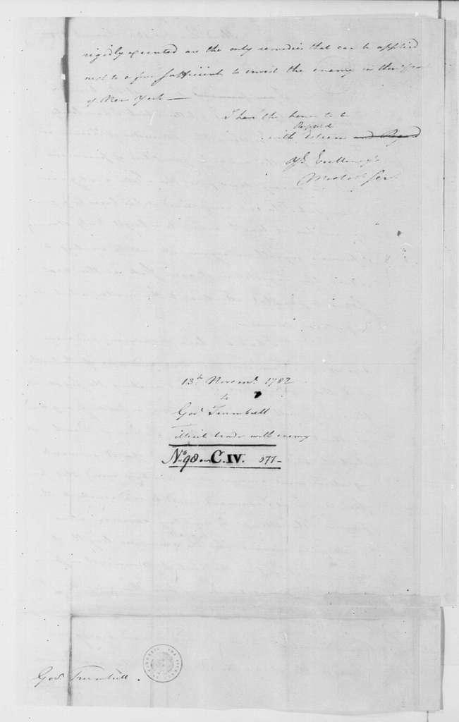 George Washington Papers, Series 4, General Correspondence: George Washington to Jonathan Trumbull, November 13, 1782