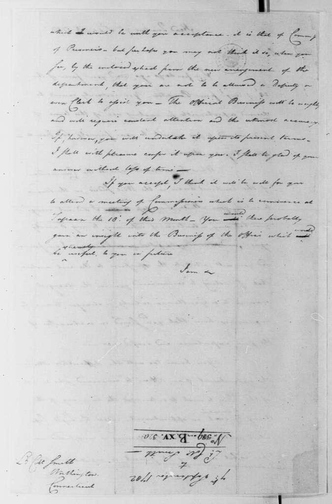 George Washington Papers, Series 4, General Correspondence: George Washington to William S. Smith, September 7, 1782