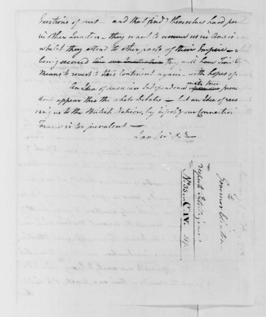 George Washington Papers, Series 4, General Correspondence: George Washington to George Clinton, May 7, 1782