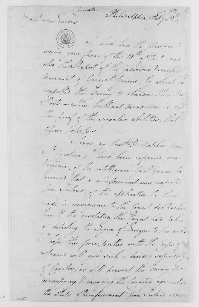 George Washington Papers, Series 4, General Correspondence: George Washington to John Laurens, February 18, 1782