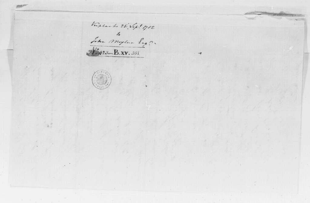 George Washington Papers, Series 4, General Correspondence: George Washington to John Moylan, September 25, 1782