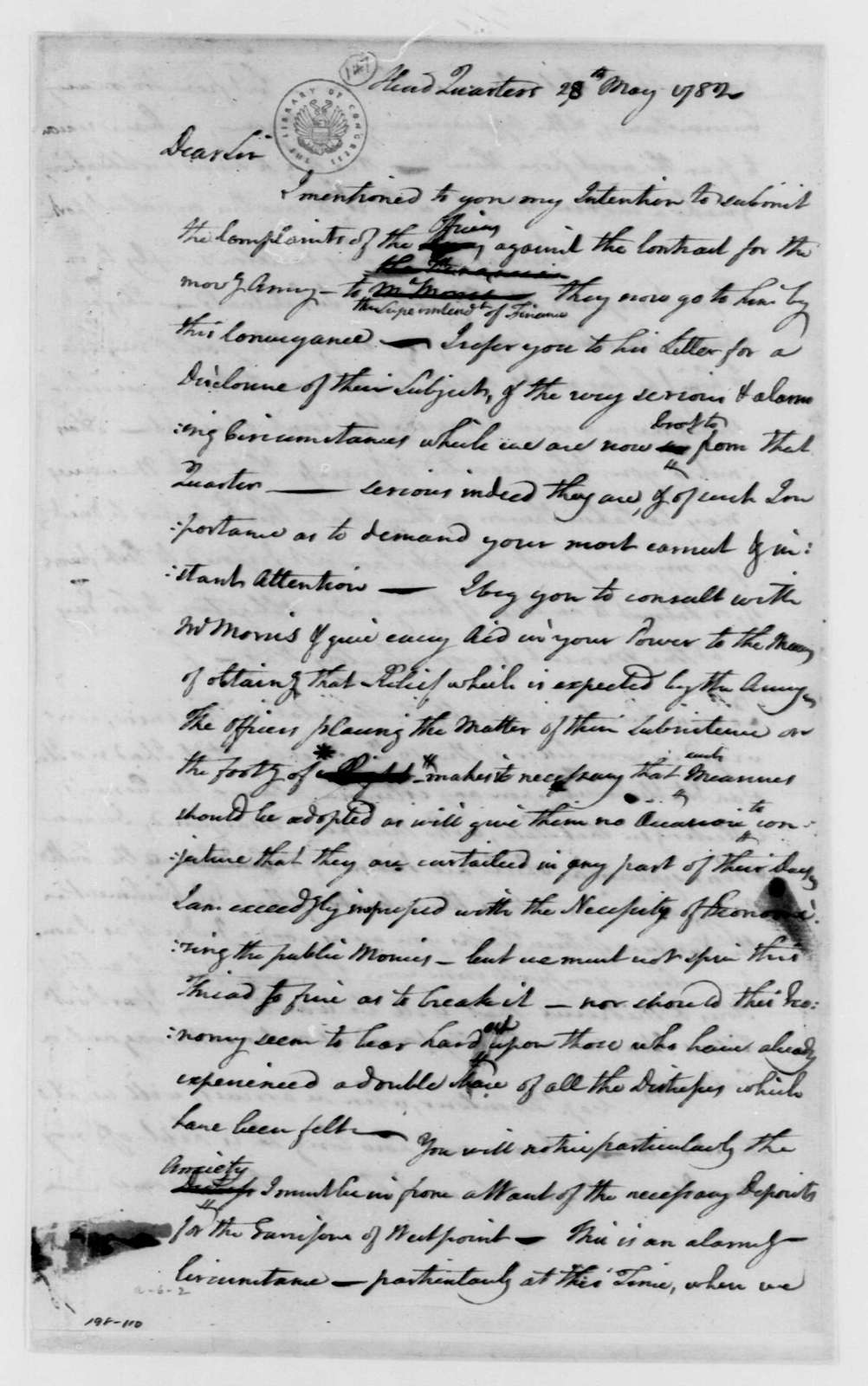 George Washington Papers, Series 4, General Correspondence: George Washington to Benjamin Lincoln, May 28, 1782