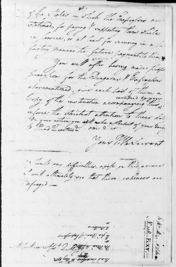 George Washington Papers, Series 4, General Correspondence: George Washington to John Mix, August 11, 1782, with Orders