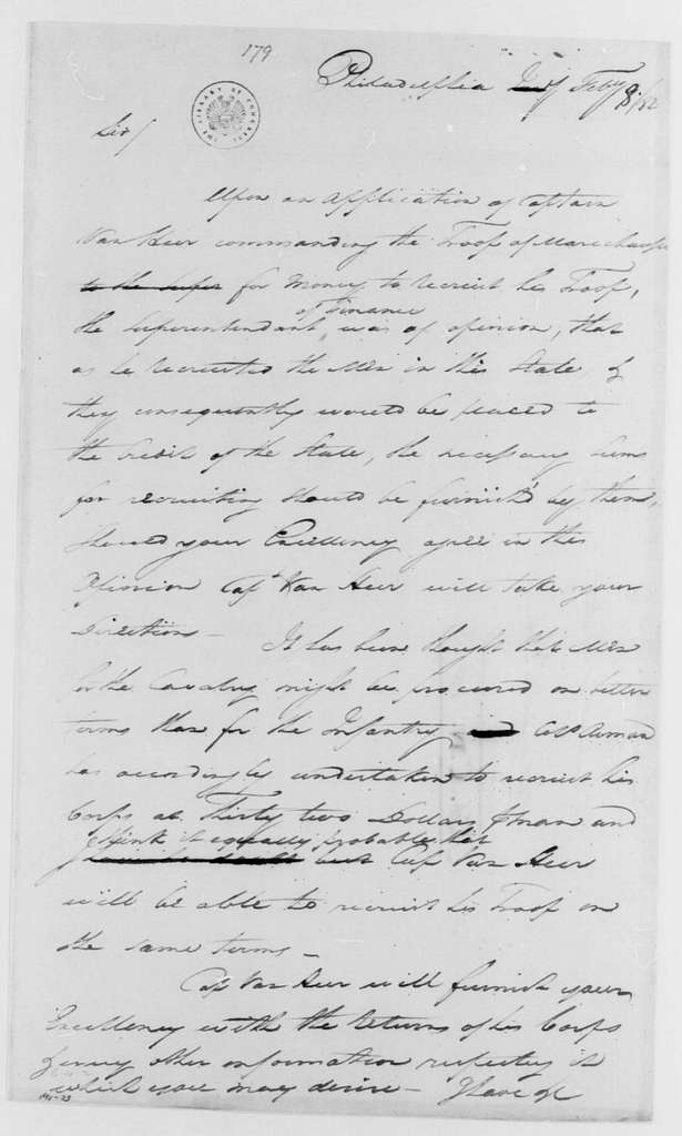 George Washington Papers, Series 4, General Correspondence: George Washington to William Moore, February 8, 1782