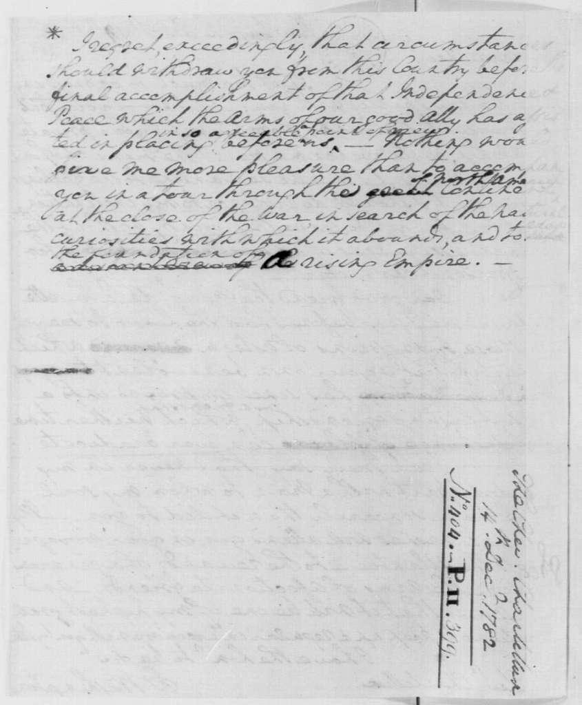 George Washington Papers, Series 4, General Correspondence: George Washington to Francois Jean, Comte de Chastellux, December 14, 1782