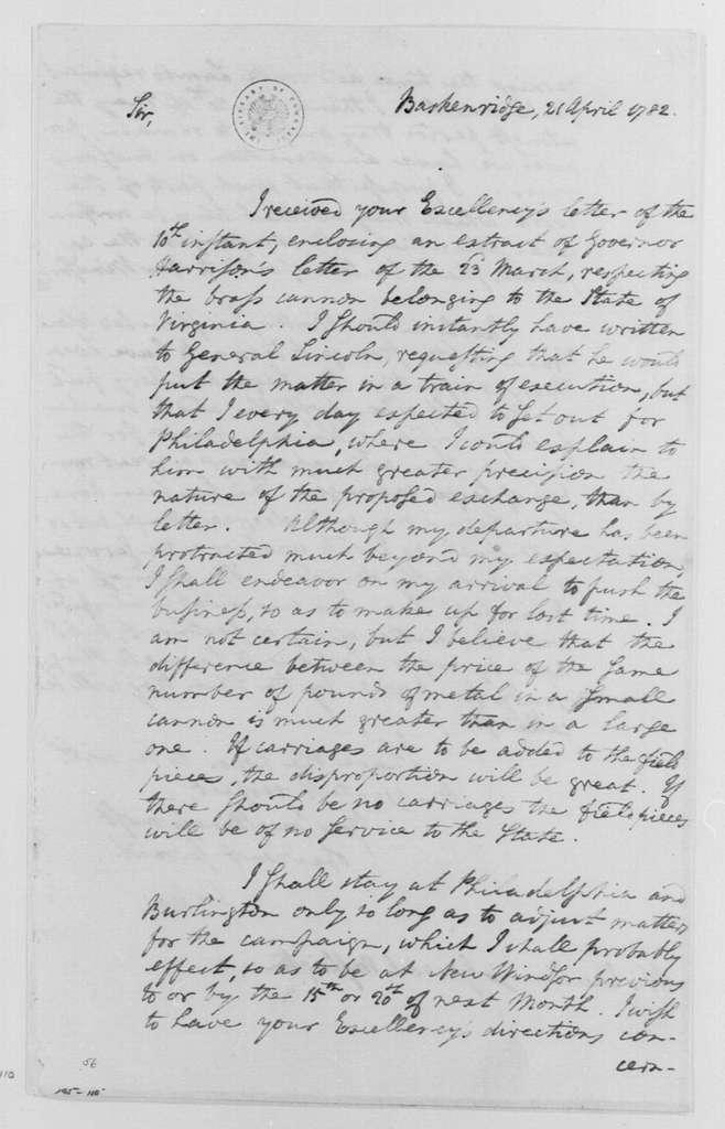 George Washington Papers, Series 4, General Correspondence: Henry Knox to George Washington, April 21, 1782
