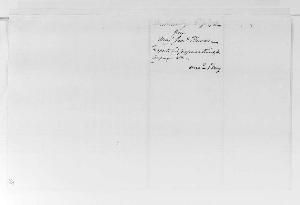 George Washington Papers, Series 4, General Correspondence: Henry Knox to George Washington, April 21, 1782