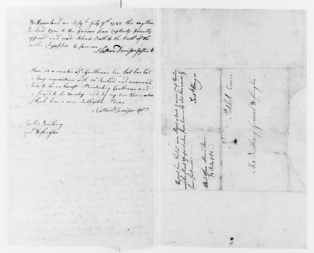 George Washington Papers, Series 4, General Correspondence: Henry Richard, July 7, 1782, Depositions on Indians