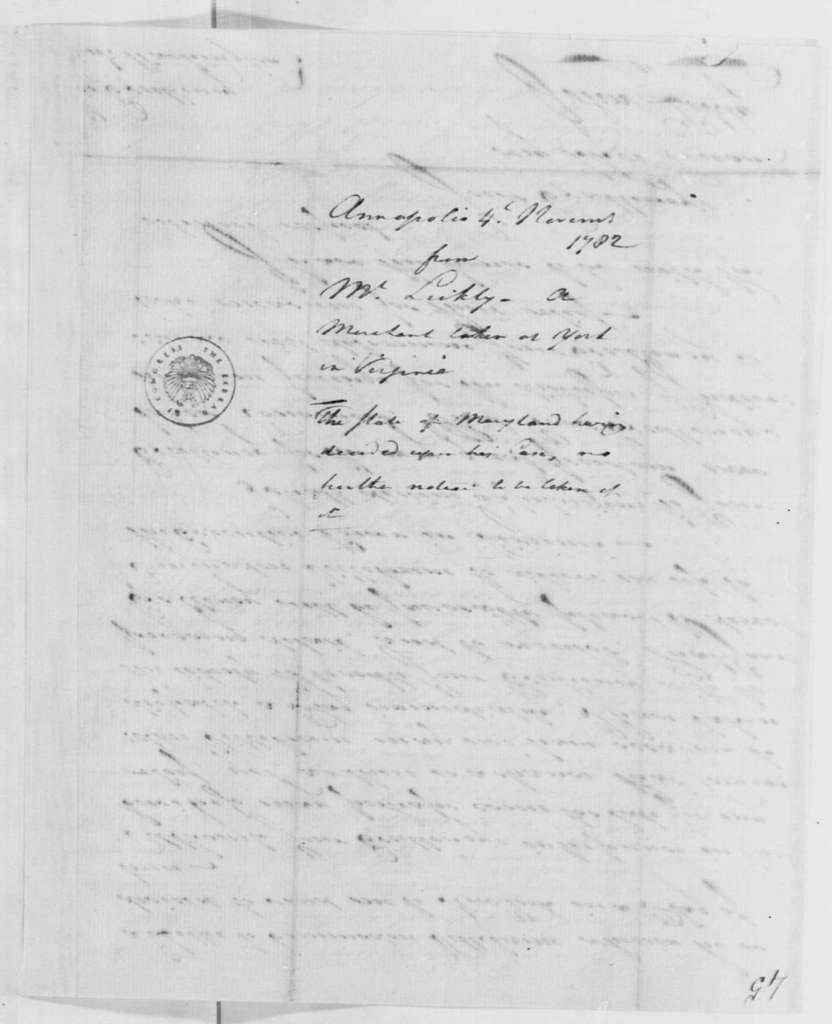 George Washington Papers, Series 4, General Correspondence: John Likly to George Washington, November 4, 1782