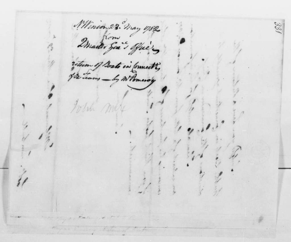 George Washington Papers, Series 4, General Correspondence: John Mix to Jonathan Trumbull Jr., May 23, 1782